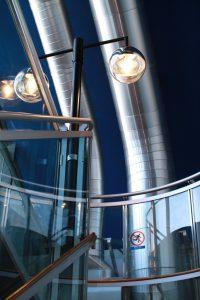 はまぎんこども宇宙科学館の階段の踊り場