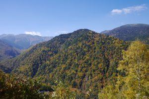 山が点々と紅葉