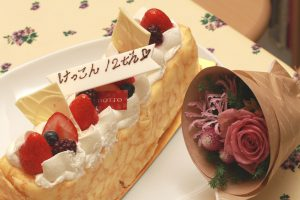 GIOTTOのケーキ プレートがちょっとヘタ字なのが可愛い(^^;