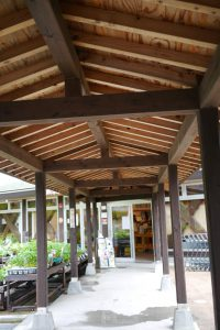 道の駅「下賀茂温泉 湯の花」の前の渡り廊下