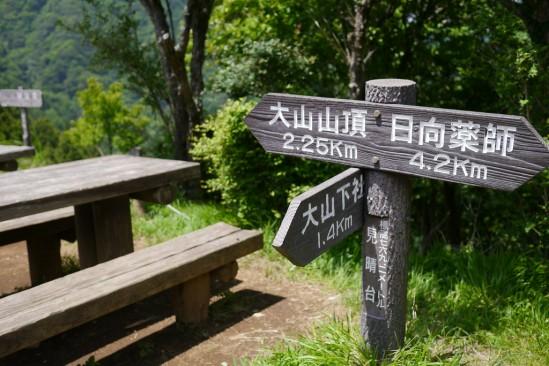 見晴台と大山山頂と下社までの距離看板
