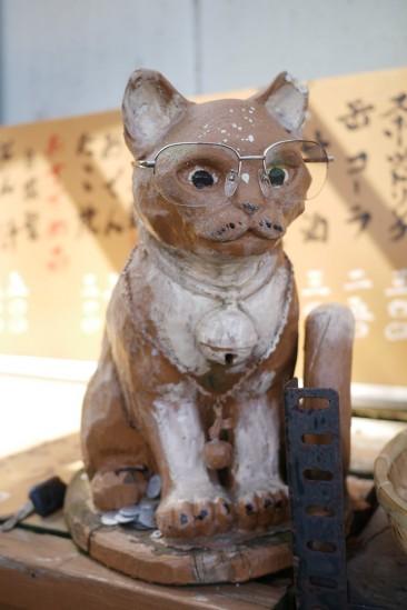 大山山頂茶屋のメガネ猫