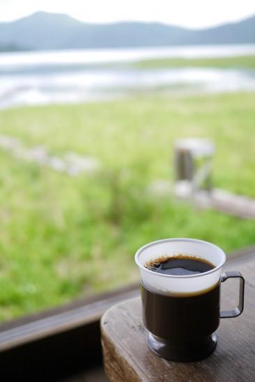 沼尻休憩所の燧ヶ岳清水コーヒー