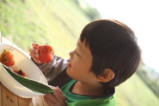 トマトを食う長男くん