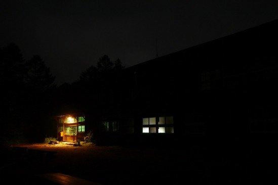 深夜の尾瀬の長蔵小屋