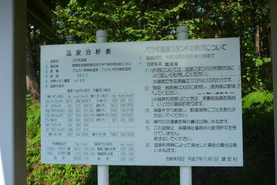 バラギ高原 湖畔の湯の温泉分析表