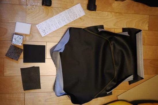 バイクシートの表皮をノンスリップシート表皮に張り替え (12)
